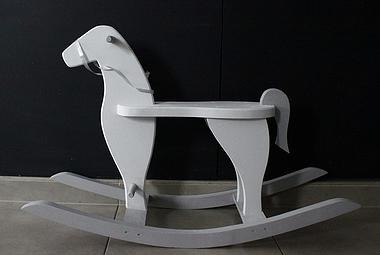 DREWNIANY, szary koń na biegunach, POLSKI HANDMADE