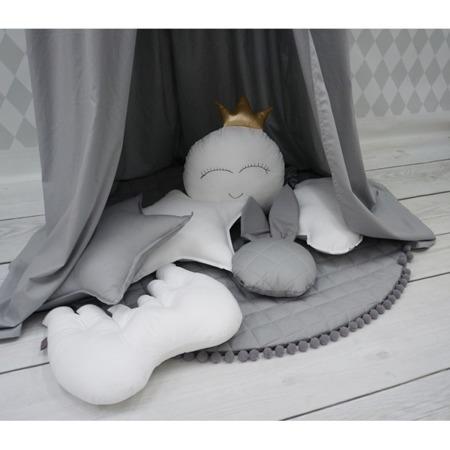 Dolly Mata szara z szarymi pomponami 100 cm