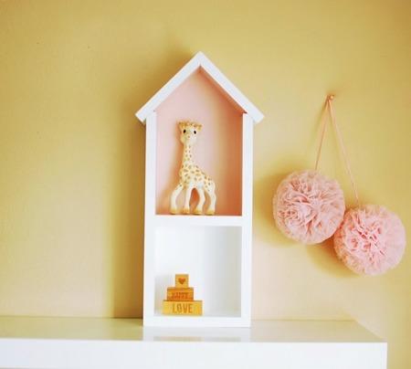 Dziecięca półeczka średni domek, Brudny Róż