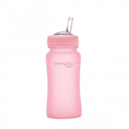 Everyday Baby Szklana butelka z silikonową słomką różany róż