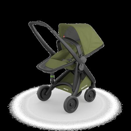 Greentom 2w1 CARRYCOT + REVERSIBLE Wózek eko czarno-oliwkowy
