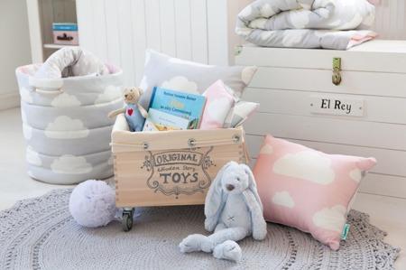 Kosz na zabawki Chmurki Pink&Grey