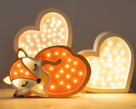 Lampka drewniana z funkcją ściemniania Little Lights Lisek Polski HandMade