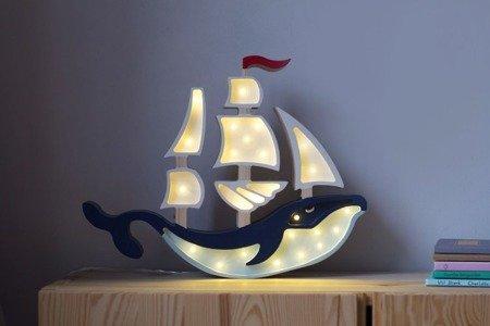Lampka drewniana z funkcją ściemniania Little Lights Statek Polski HandMade
