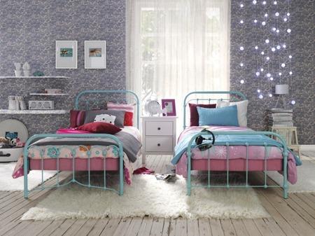 Łóżko metalowe młodzieżowe Babunia 120/200 turkusowe