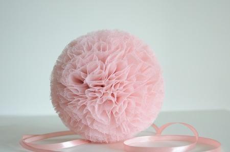Pompon tiulowy Brudny Róż 15 cm, handmade