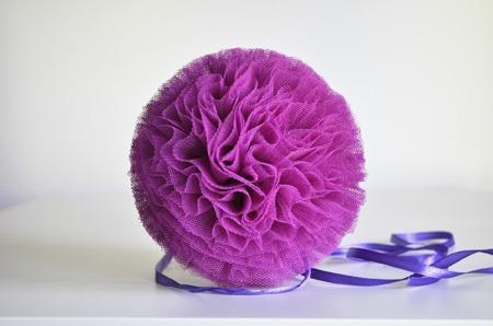 Pompon tiulowy Fioletowy 15 cm, handmade