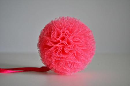 Pompon tiulowy Malinowy Róż 15 cm, handmade