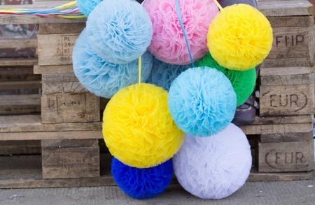 Pompon tiulowy Niebieski 20 cm, handmade