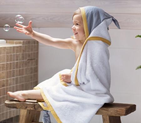 Poofi Duży ręcznik z uszkami miodowy/popiel