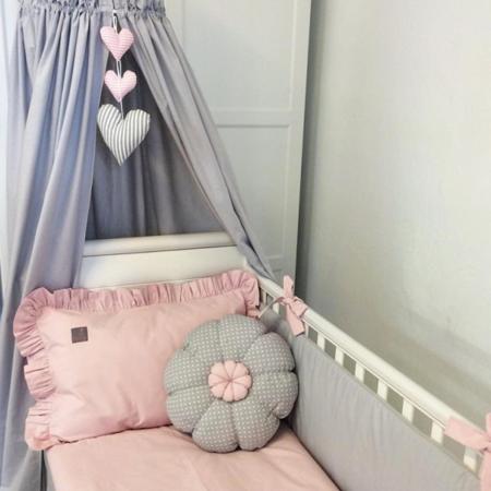 Pościel z falbanką pudrowo-różowa 100/135cm, Dolly