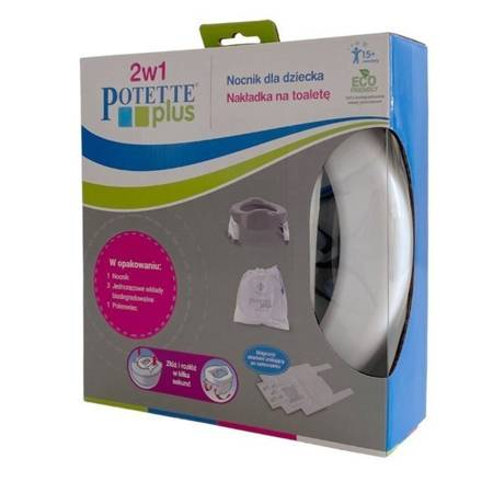 Potette Plus 2w1 nocnik turystyczny-nakładka na WC + 3 wkłady, szary
