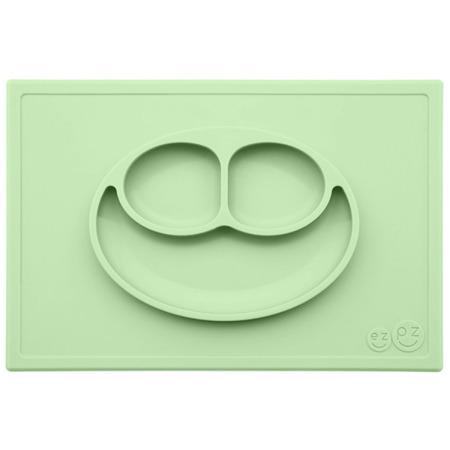 Silikonowy talerzyk z podkładką EZPZ 2 w 1 Happy Mat, Pastelowa zieleń