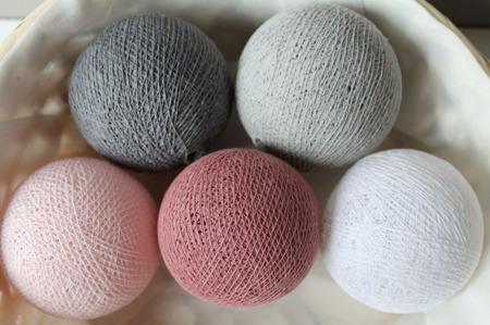 Świecące kule COTTON BALL zestaw Dusty Pink 10 sztuk