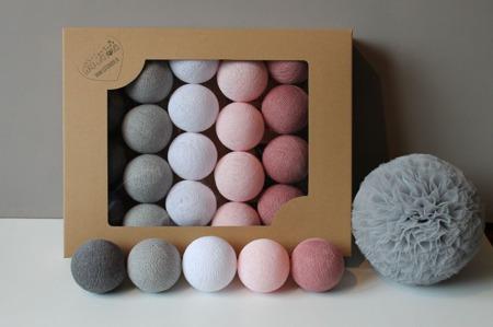 Świecące kule COTTON BALL zestaw Dusty Pink 35 sztuk
