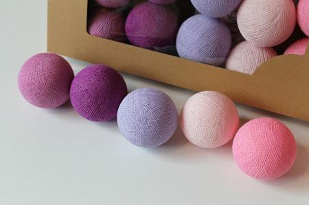 Świecące kule COTTON BALL zestaw Light Berry 50 sztuk