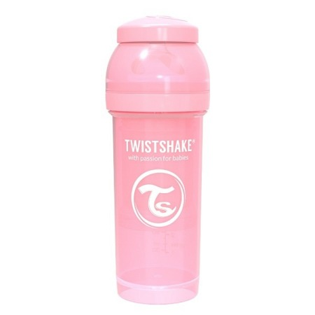 Twistshake Antykolkowa butelka do karmienia 260ml pastelowy różowy