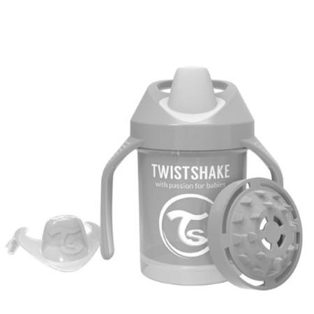 Twistshake  Kubek niekapek z uchwytami i mikserem do owoców 230 ml pastelowy szary